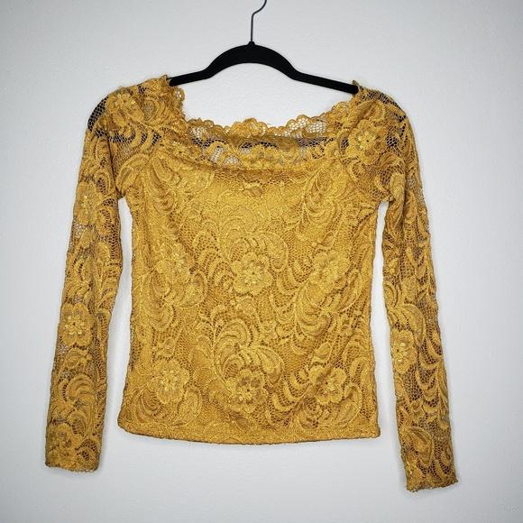 Ambiance Tops - Ambiance Lace Blouse Gold Size M